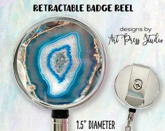 Resin Geode Badge Reel