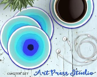 Evil Eye Coaster Set, Set of 4 Coasters