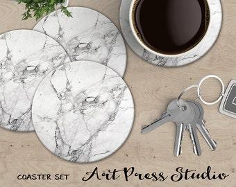 White Marble Coasters, Set of 4 Cork Back Marble Coasters, Carrera Marble Coasters, White Stone Coaster Set