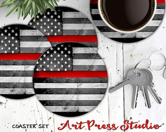 Thin Red Line Coasters, Set of 4 Cork Back Red Line American flag Coasters, Firefighter Coasters, Fireman Coaster Gift Set