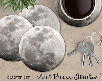 Full Moon Coasters, Moon Coaster, Set of 4 Cork Back Full Moon Coasters, Astronomy Coasters, Geekery Coaster Set