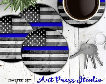 Thin Blue Line Coasters, Set of 4 Cork Back Blue Line American flag Coasters, Police Officer Coasters