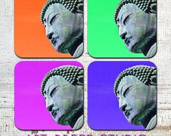"Buddha Coasters, ""POP Buddha"" Coasters, Cork Back Coasters, Boho Chic Zen Coasters, Set of 4 Cork Back Coasters"