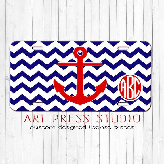 Monogrammed Decorative Car Tag Nautical Chevron License Plate Navy Blue And Red Personalized Licensed Plate