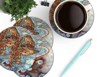 Copper and Blue Agate Coasters, Gemstone Coaster Set, Boho Desk Accessory, Precious Stone Coasters, Geode Coasters, Natural Marble Stone