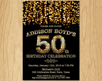 50th Birthday Invitation Gold Glitter Party Elegant Fifty Invite Black Chalkboard White Sparkles Posh ABG02 50