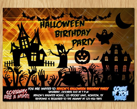 Halloween Invitation Kids Birthday Party Invite Boy Or Girl Printable Digital DIY KH002