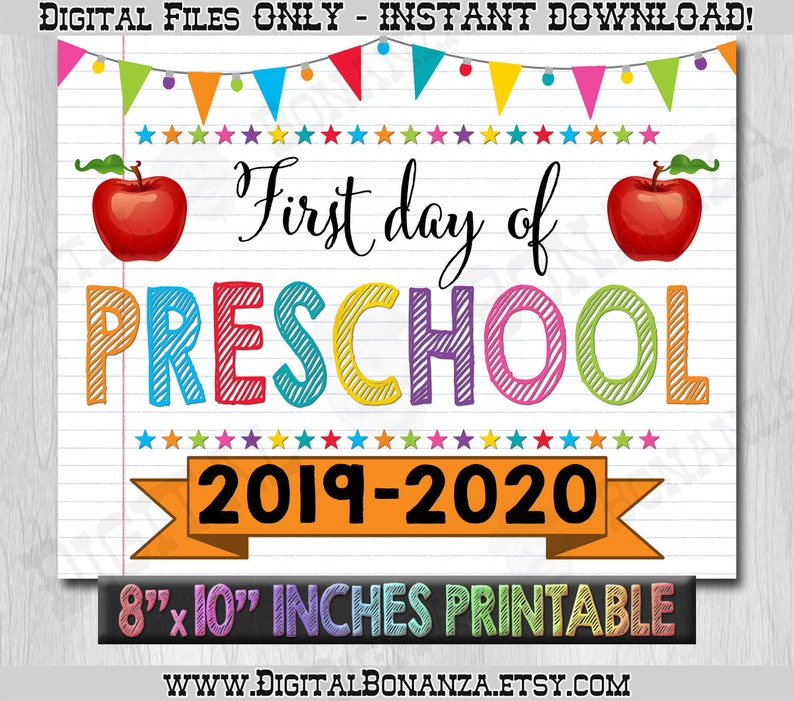 image about First Day of Preschool Sign Printable identify 1st Working day of Preschool Indicator, Initial Working day of Higher education Coloration Laptop computer, Back again In the direction of Faculty Indication Printable, Laptop Indication Do-it-yourself, Pre Faculty, Printable
