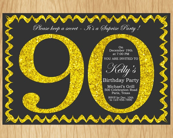 90th Birthday Invitation Gold Glitter Party Invite Adult Elegant Surprise Printable Digital ABGG90