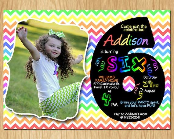 6th Birthday Invitation Rainbow Chevron Pastel Sixth Party Invite Custom Photo Boy Or Girl Chalkboard Printable Digital DIY KNB021