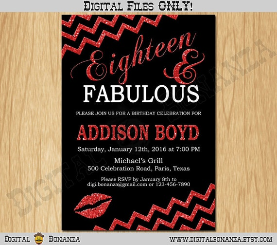 18th Birthday Invitation Women Eighteen Black Red Glitter Party Invite FABULOUS Adult Teen Surprise Printable F18 001