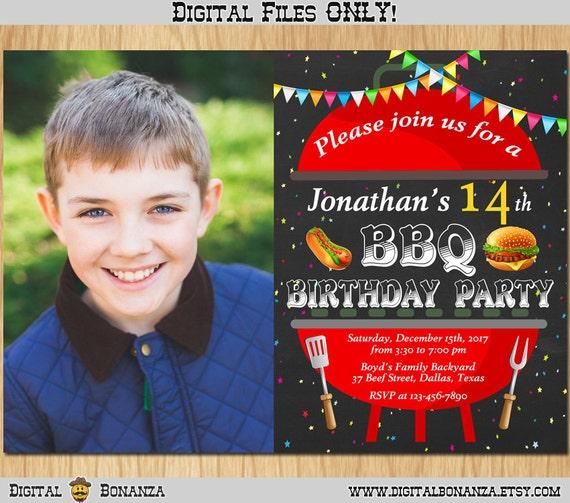 bbq birthday invitation kids barbeque birthday party invite etsy