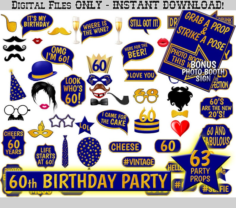 60th Birthday Party Photo Booth Props Navy Blue And Gold