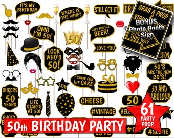 50th Birthday Party Photo Booth Props, Black and Gold Glitter. Photobooth Party Decoration