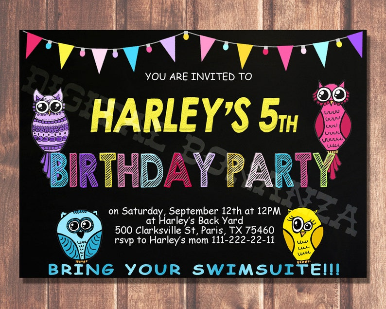 Owl Birthday Invitation Printable Chalkboard Invitations For