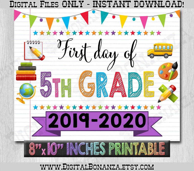 graphic about First Day of 5th Grade Printable identify To start with Working day of 5th Quality Signal, Initial Working day of College Colour Laptop computer, Back again Toward College or university Signal Printable, Laptop computer Indication, Do it yourself, 5th, Printable