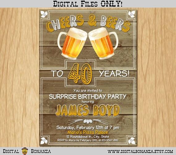 40th Birthday Invitation Cheers Beers Invite Surprise Old Wood Background Beer Party Big 40 Printable Digital AB05