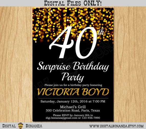 40th Birthday Invitation Gold Glitter Party Elegant
