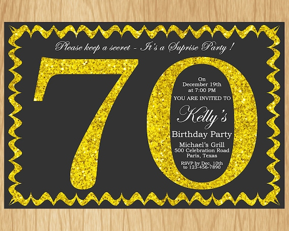 70th Birthday Invitation Gold Glitter Party Invite Adult Elegant Surprise Printable Digital ABGG70
