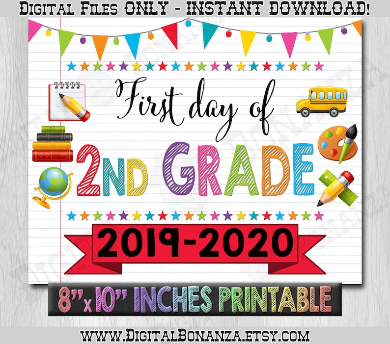 graphic relating to First Day of Second Grade Printable Sign identified as 1st Working day of Moment Quality Signal, Initial Working day of Faculty Coloration Laptop computer, Again Towards Faculty Indicator Printable, Laptop computer Signal, Do-it-yourself, 2nd, Printable