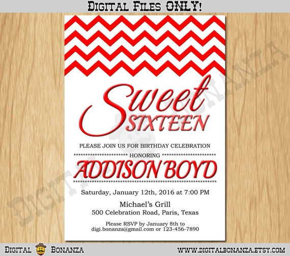 Sweet 16th Birthday Invitation Sixteen White Red Party Invite Teen Surprise Printable F16 003r
