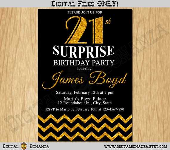 21st Birthday Invitation Gold Glitter Party Chevron Invite Adult Black Elegant Surprise Printable Digital AB10 21