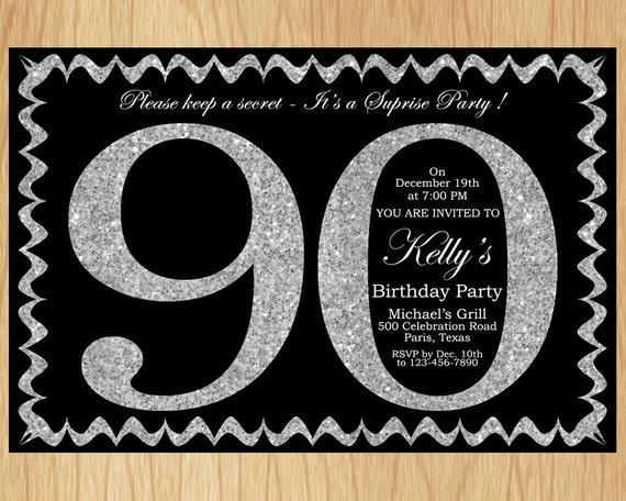 90th Birthday Invitation Silver Glitter Party Invite