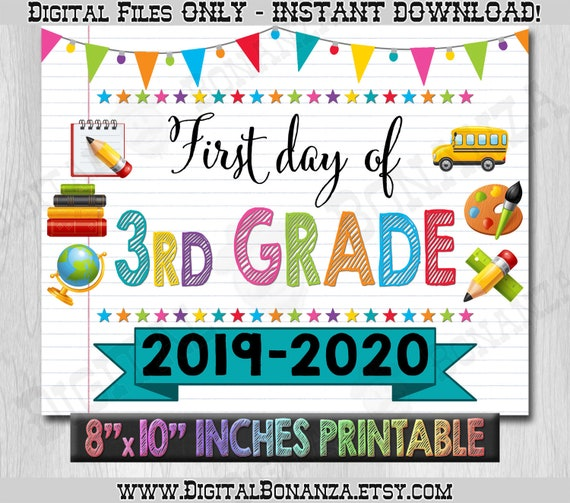 image about First Day of 3rd Grade Sign Printable titled Initially Working day of 3rd Quality Signal, Initially Working day of College or university Colour