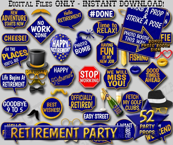 Retirement Props Retirement Photobooth Props Retirement Printable Props Printable Retirement Party Photo Booth Props