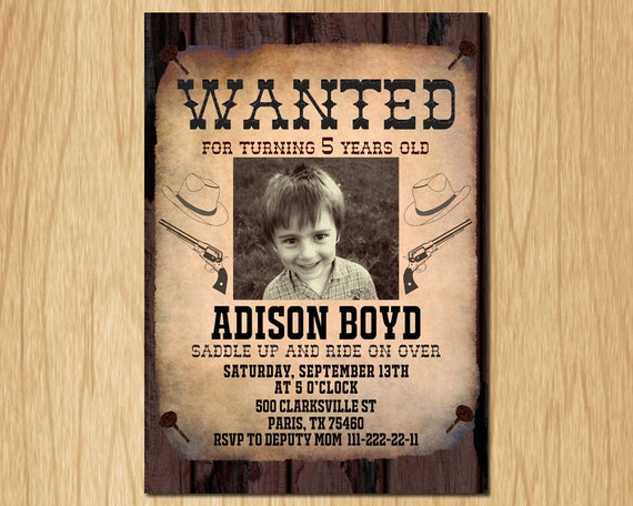 Cowboy Birthday Invitation Wanted Poster Old Wild West Party Invite With Custom Photo Boy Or Girl Printable Digital DIY KW002