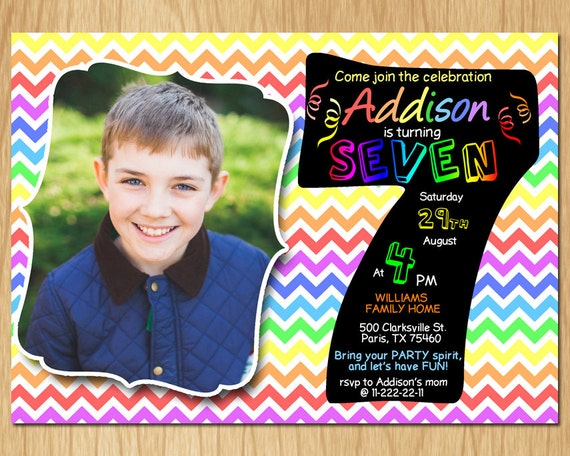 7th Birthday Invitation Rainbow Chevron Pastel Seventh Party Invite Custom Photo Boy Girl Chalkboard Printable Digital DIY KNB023