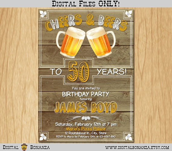 50th Birthday Invitation Cheers Beers Invite Surprise Birthday Old