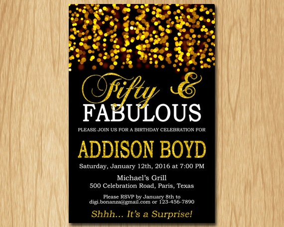 Fifty And Fabulous Birthday Invitation Gold Birthday Party