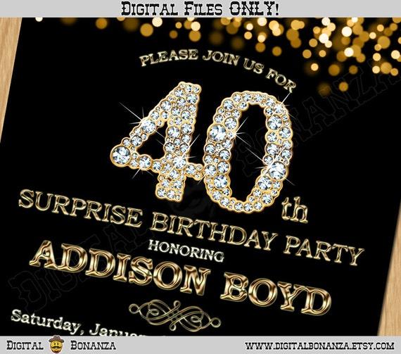 40th Birthday Invitation Gold Glitter Party Elegant Forty Invite Black Chalkboard Diamonds Sparkles Posh ABD01 40 Digital Bonanza