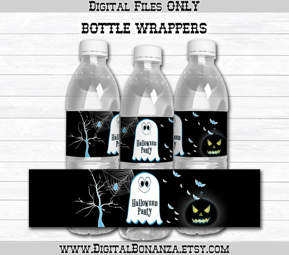 Halloween Party Party Favors Digital File ONLY Halloween Water Bottle Labels