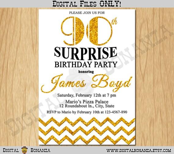 90th Birthday Invitation Gold Glitter Party Chevron Invite Adult White Elegant Surprise Printable Digital AB11 90