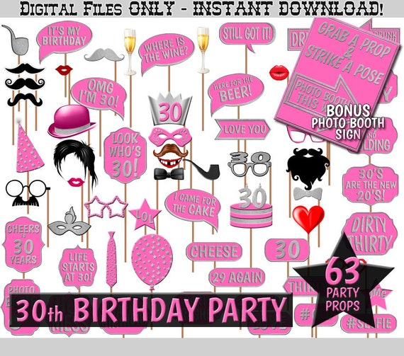 30th Birthday Party Printable Photo Booth Props Hot Pink And Silver Photobooth Selfies Decoration