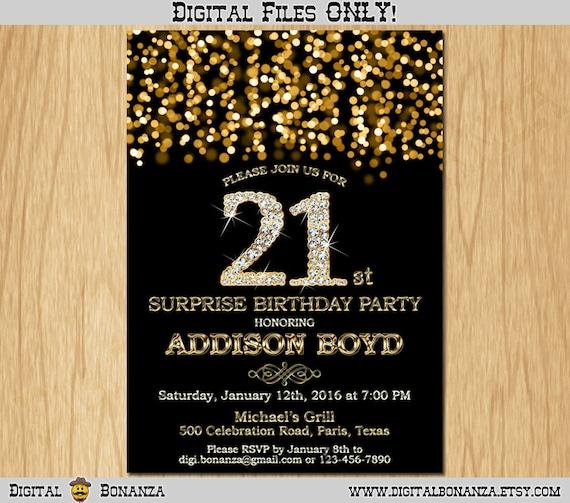 21st Birthday Invitation Gold Glitter Party Elegant Twenty First Invite Black Chalkboard Diamonds Sparkles Posh ABD01 21