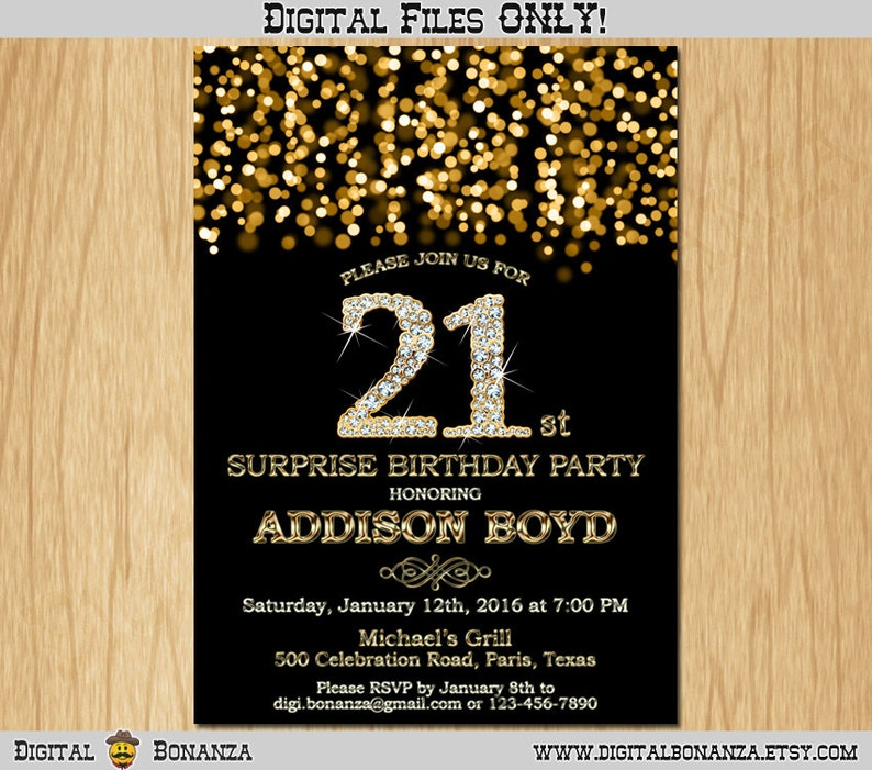 21st Birthday Invitation Gold Glitter Party Elegant