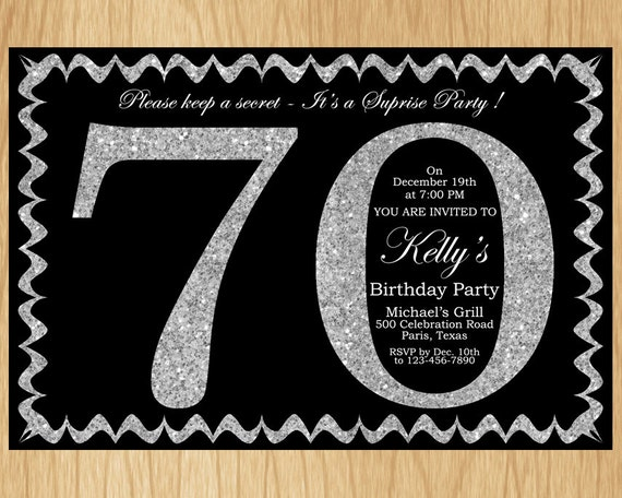 70th Birthday Invitation Silver Glitter Party Invite Adult Elegant Surprise Printable Digital ABSG70