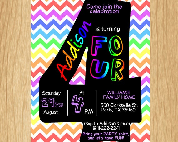 4th Birthday Invitation Rainbow Chevron Pastel Fourth