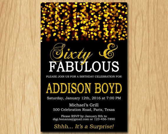 Sixty And FABULOUS Birthday Invitation Gold Party Invite Adult Elegant Surprise Printable Digital AFBG60