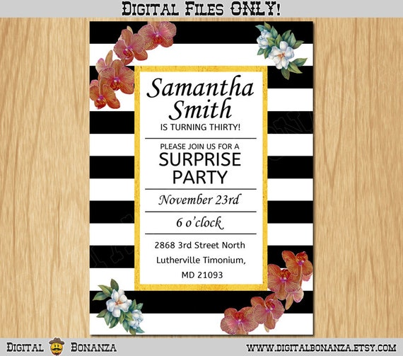 30th 40th 50th Any Birthday Invitation Black White Party Invite Adult Elegant Surprise Flowers Printable Digital ABA001