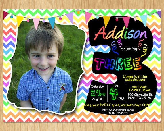 3rd Birthday Invitation Rainbow Chevron Pastel Third Party Invite Custom Photo Boy Or Girl Chalkboard Printable Digital DIY KNB015