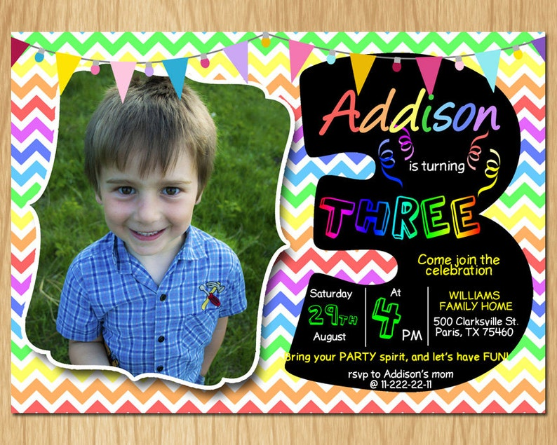 3rd Birthday Invitation Rainbow Chevron Pastel Third Birthday