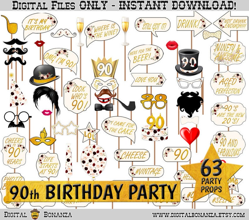 90th Birthday Party Printable Photo Booth Props Marsala Bouquet Gold and Flowers Photobooth Selfie