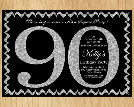 90th Birthday Invitation Silver Glitter Party Invite Adult Elegant Surprise Printable Digital ABSG90