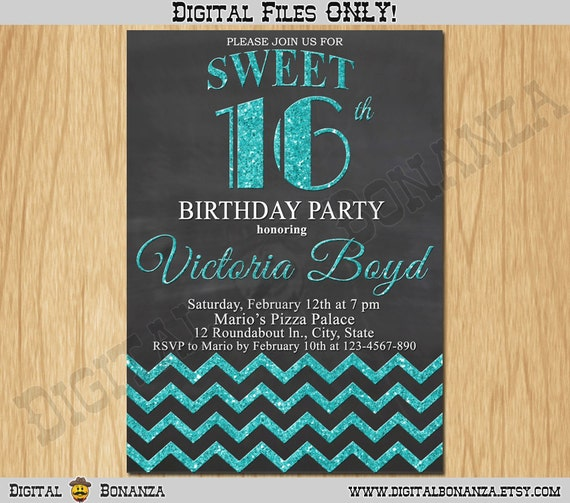Sweet 16th Birthday Invitation Sixteen Black Turquoise Glitter Party Invite Teen Surprise Printable F16 005ti