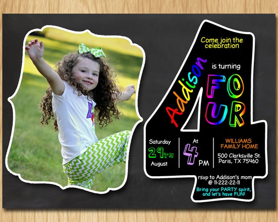 4th Birthday Invitation Chalkboard Invite Rainbow Colors Fourth