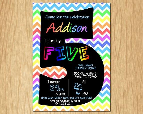 5th Birthday Invitation Rainbow Chevron Pastel Fifth Party Invite Boy Or Girl Chalkboard Printable Digital DIY KNB018